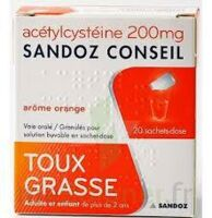 ACETYLCYSTEINE SANDOZ CONSEIL 200 mg Glé solution buvable en sachet-dose 20Sach/1g à RUMILLY